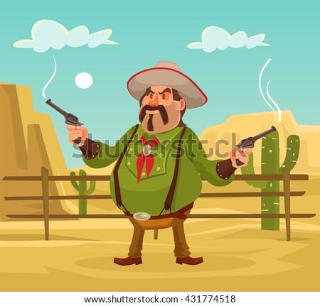 Shutterstock Mexican robber. Whild west. Vector flat cartoon illustration. Robber in desert