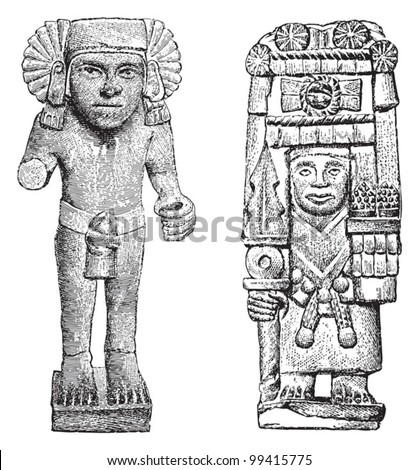 Mexican sculpture / vintage illustration from Meyers Konversations-Lexikon 1897