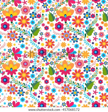 Mexican seamless floral  pattern, beautiful ethnic ornamert
