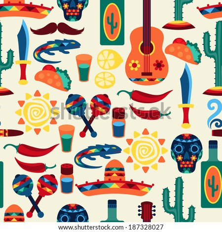 Mexican seamless pattern with icons in native style