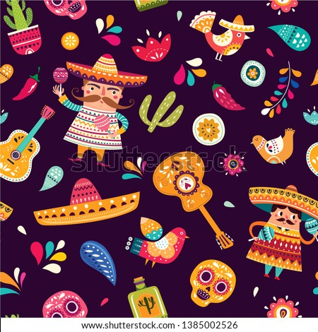 Mexican seamless pattern with mexican guitar, mexican skull, birds