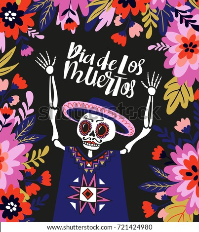mexican skeleton in the floral
