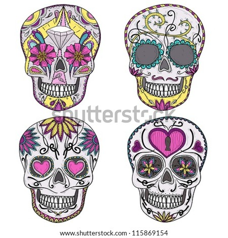 mexican skull set colorful