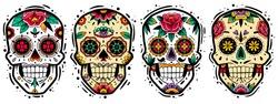 Mexican skulls set. Vector illustration. Dia de los muertos shugar colorful heads.