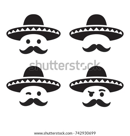 stock-vector-mexican-sombrero-hat-with-funny-mustache-smiley-face-different-expressions-set-simple-and-minimal