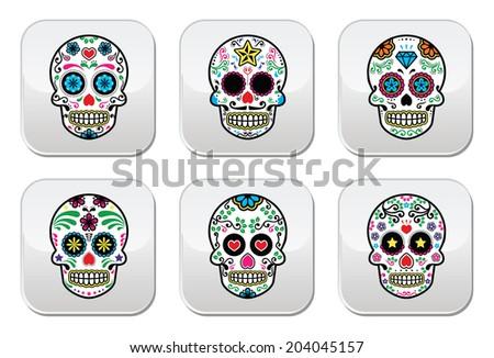 Mexican sugar skull Dia de los Muertos buttons