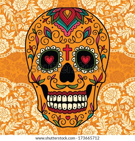 Mexican sugar skull on lace backgroundMexican Colors Background