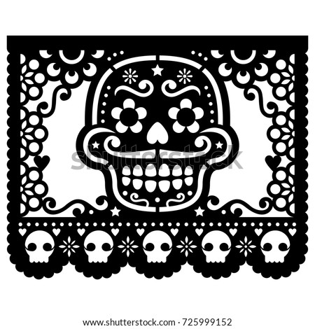 Shutterstock Mexican sugar skull vector paper decorations - Papel Picado black design for Halloween, Dia de Los Muertos, Day of the Dead Cut out template with candy skull and flowers, traditional art from Mexico
