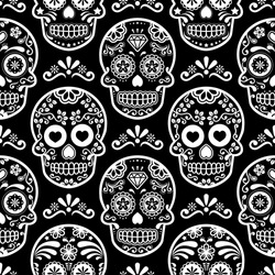 Mexican sugar skull vector seamless pattern on black, Halloween white candy skulls background, Day of the Dead celebration, Calavera design