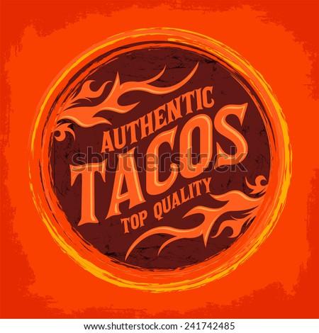 mexican tacos icon   emblem