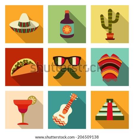 mexican theme flat icon set
