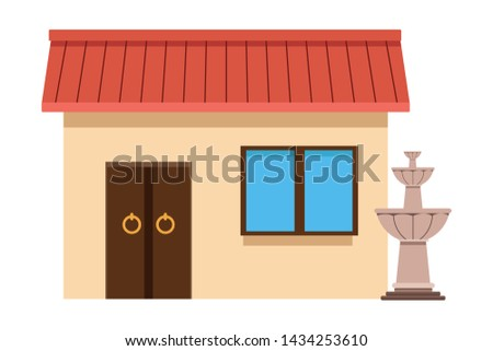 mexican traditional culture with traditional mexican house building and water fountain icon cartoon vector illustration graphic design