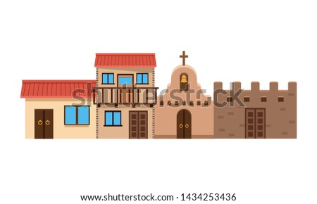mexican traditional culture with traditional mexican house building, church and castle icon cartoon vector illustration graphic design