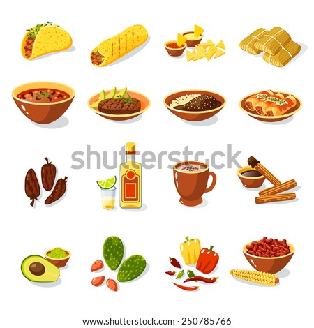 Shutterstock Mexican traditional food set with meat avocado tequila corn isolated vector illustration