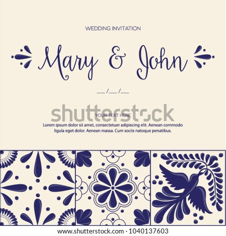 Talavera tile vector invitation download free vector art stock mexican traditional talavera style tiles from puebla mxico wedding copy space floral composition with stopboris Image collections