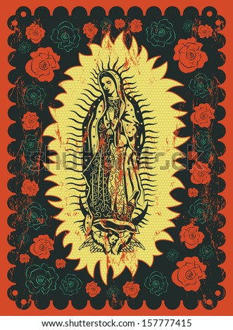 Mexican Virgin of Guadalupe vintage silkscreen style poster