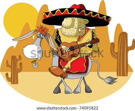 Mexican wearing a sombrero riding a donkey in the desert;