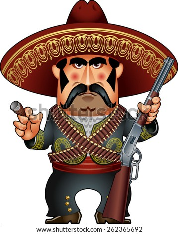 Shutterstock mexican with crossed ammunition belts and rifle