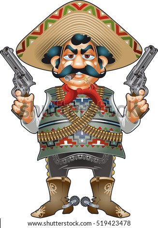 mexican with sombrero  pistols