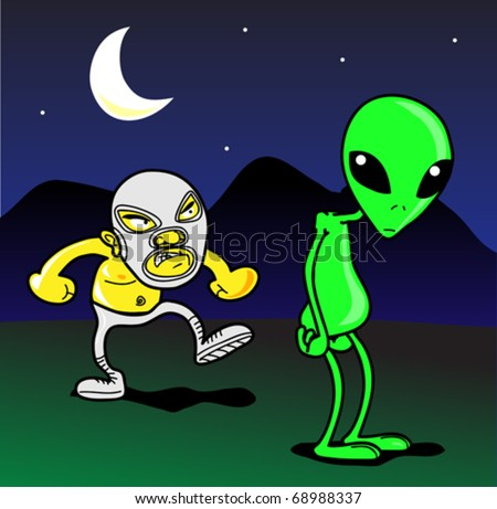 mexican wrestler vs alien
