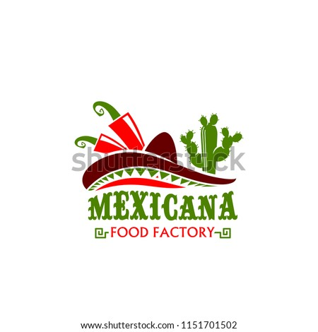 Mexicana food factory icon design for Mexican cuisine restaurant or fast food bar and snacks cafe. Vector isolated symbol of Mexican chili jalapeno red pepper, cactus and sombrero