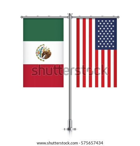 Mexico and United States vector banner flags, hanging side by side on a silver metallic poles. Mexico and USA friendship concept.