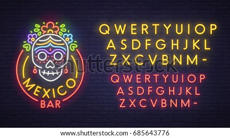 mexico bar neon sign  bright
