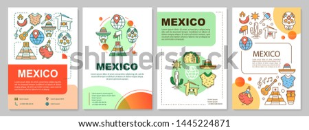 Mexico brochure template layout. Mexican culture and attractions. Flyer, booklet, leaflet print design with linear illustrations. Vector page layouts for magazines, annual reports, advertising posters