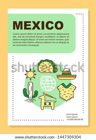 Mexico brochure template layout. Mexican culture and nature. Flyer, booklet, leaflet print design with linear illustrations. Vector page layouts for magazines, annual reports, advertising posters