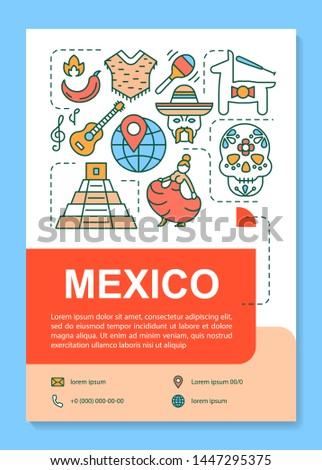 Mexico brochure template layout. Mexican culture, holidays. Flyer, booklet, leaflet print design with linear illustrations. Vector page layouts for magazines, annual reports, advertising posters