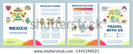 Mexico brochure template layout. Mexican sights, culture. Flyer, booklet, leaflet print design with linear illustrations. Vector page layouts for magazines, annual reports, advertising posters