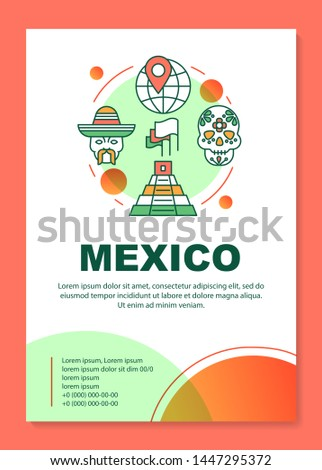 Mexico brochure template layout. Mexican tourist attractions. Flyer, booklet, leaflet print design with linear illustrations. Vector page layouts for magazines, annual reports, advertising posters