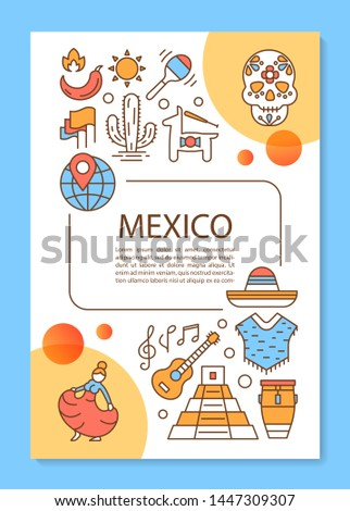 Mexico brochure template layout. Mexican travel agency flyer, booklet, leaflet print design with linear illustrations. Vector page layouts for magazines, annual reports, advertising posters