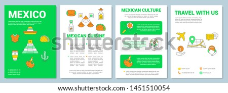 Mexico brochure template layout. Mexican travel, tour. Flyer, booklet, leaflet print design with linear illustrations. Vector page layouts for magazines, annual reports, advertising posters