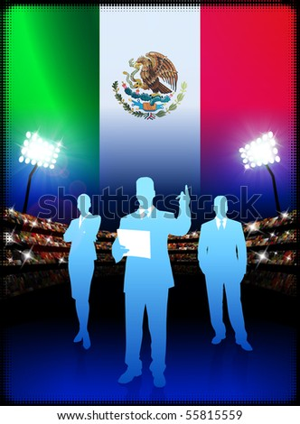 Mexico Business Team on Stadium Background with Flag Original Illustration