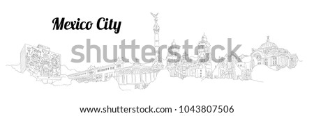 MEXICO CITY city vector panoramic hand drawing illustration