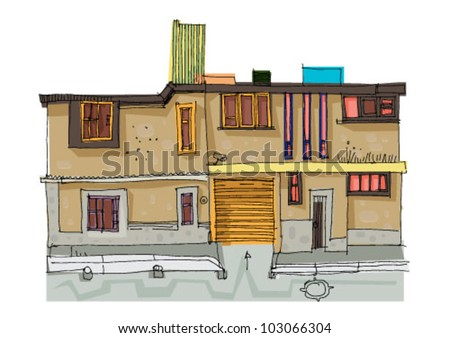 mexico city facade - cartoon