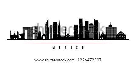 Mexico city skyline horizontal banner. Black and white silhouette of Mexico city. Vector template for your design.