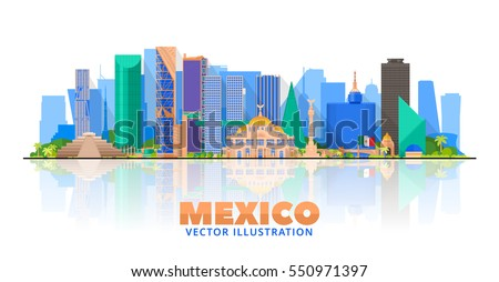 Mexico city skyline on a white background. Flat vector illustration. Business travel and tourism concept with modern buildings. Image for banner or web site.