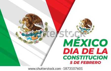 Mexico constitution day. National public holiday. Inscription Mexico, Constitution Day in Spanish. Template for background, banner, card, poster. Vector EPS 10. Stockfoto ©