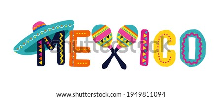 Mexico, decorated logo, lettering. Fiesta banner and poster design with flags, flowers, decorations Foto stock ©
