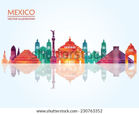 Mexico famous landmarks skyline. Vector illustration