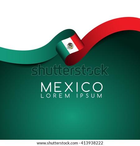 Mexico Flag Ribbon : Vector Illustration