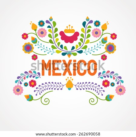 mexico flowers  pattern and