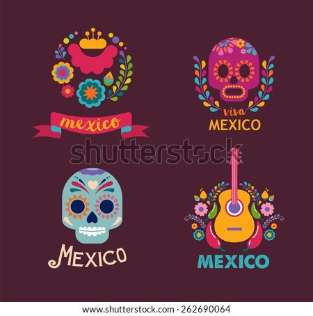 Stock Photo Mexico flowers, skull and food elements. Vector illustration
