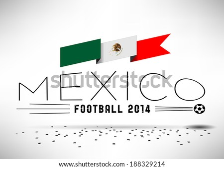 mexico football design with flag
