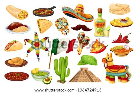 Mexico icons carnival Cinco de mayo vector, Mexican cuisine, traditional holiday fiesta food and festival symbols travel elements illustration. Pinata, burrito, fajitas, cactus, sombrero, flag and ets