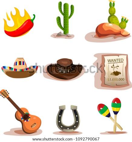 mexico icons set set of 9