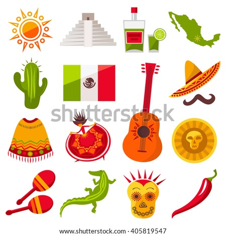 Mexico icons set. Sun, Moai  pyramid, tequila, Mexico map, cactus, guitar, peyote, sombrero, moustache, poncho, dancing girl, coin, bean, chili, crocodile, maracas, Mexico flag. Vector Mexican icons.