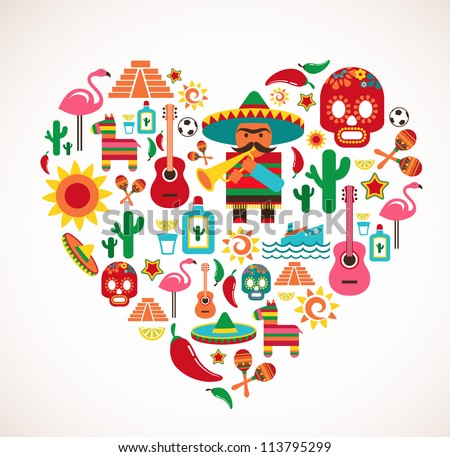 Mexico love heart with set of vector illustrations